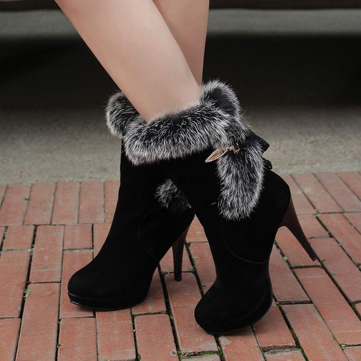 Shoespie Black Faux-fur Brimmed Stiletto Heel Ankle Boots