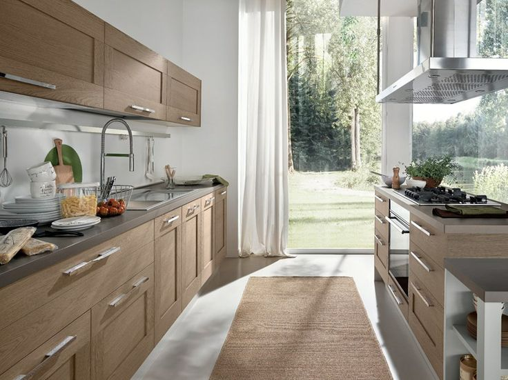 Cucina in legno con isola Collezione Gallery by Cucine Lube