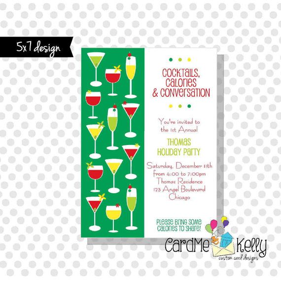 Printable 5x7 Holiday Cocktail Drinks Happy Hour Party Invitation - Digital File