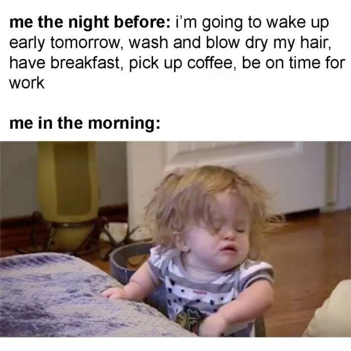 Pin By Fluffy On Hilarious How To Wake Up Early Work Memes Memes