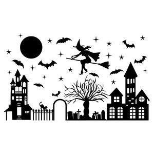Silhouette Design Store - View Design #154009: witch flying over town