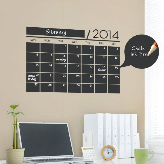 Chalkboard Wall Calendar  Vinyl Wall Decals by SimpleShapes, $35.00.  See dates/deadlines for wedding planning.