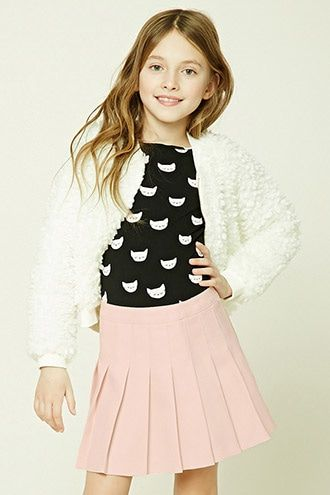 """Forever 21 Girls - A knit top featuring allover """"Luv You"""" and heart graphics, a round neckline, short sleeves, and a scoop back."""