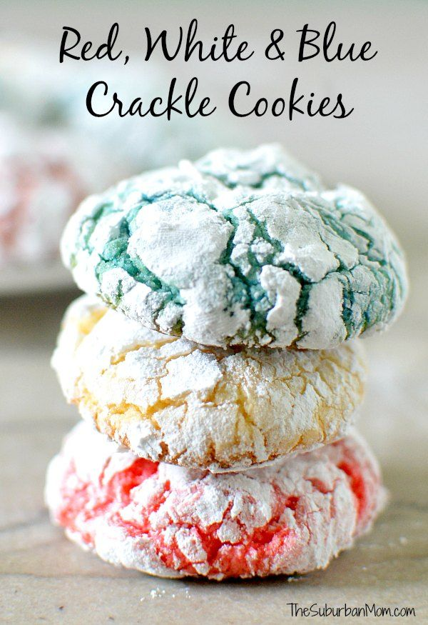 Red White and Blue Crackle Cookies - the cutest cookie for your 4th of July celebration! Easy and delicious!