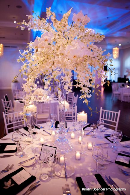 Stoneblossom florists design - white flower centerpiece made by Joyce the owner at Belle Mer in Newport RI - elegant wedding