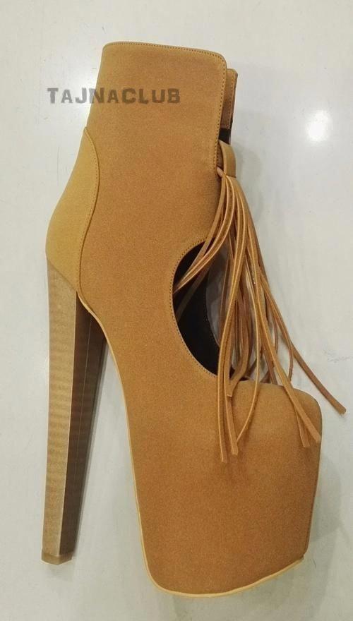 9bac2cc65881 Ginger Suede Fringed Ankle Boots Mega Platform 20 cm High Heel Shoes   Platformhighheels