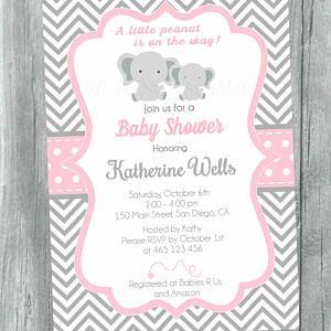 Grey and Pink Chevron baby shower invitation. Digital file. Printable Baby Shower Invitation, Elephant chevron baby shower invitation.
