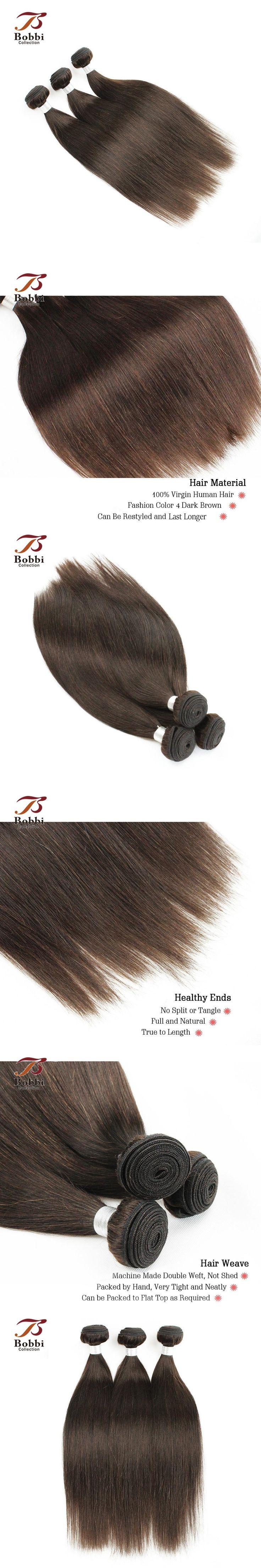 Malaysian Straight Hair Weave 4 Bundles Color 4 Dark Brown Human Hair Weft Malaysian Hair Extension Bobbi Collection