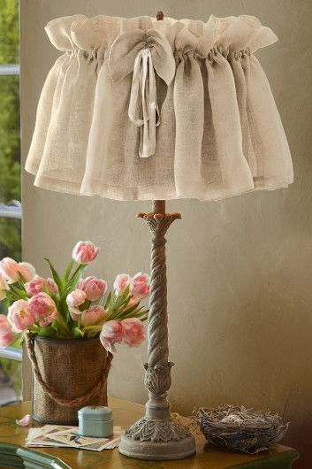 Vintage Linen Lampshade Cover - Lamp Shade Covers, Linen Lampshade | Soft Surroundings: