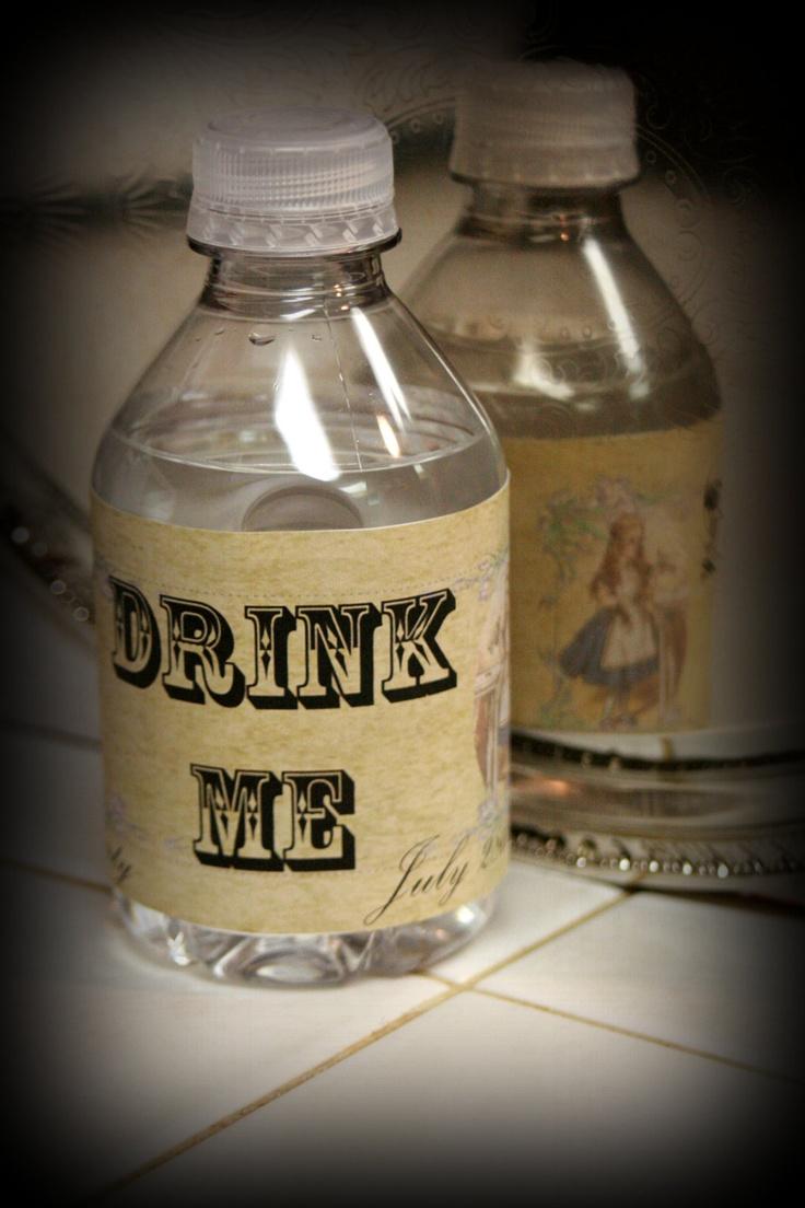 DIY Personalized Printable Vintage Alice in Wonderland Party Water Bottle Label Set. $4.00, via Etsy.