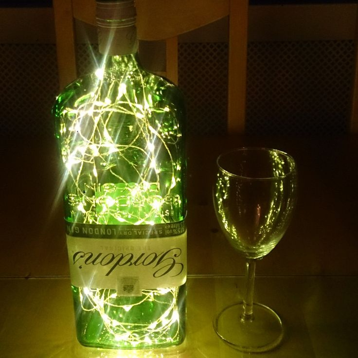 Upcycled Gordons Gin Bottle Lamp. Perfect Mood Lighting Gift For Women. Ideal Boyfriend Gift For Men & Man Caves. Cool Upcycled Lighting by TowerAngel on Etsy