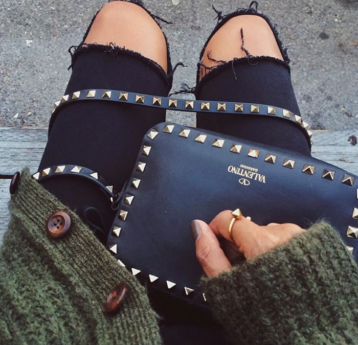 Rips and studs - TOPSHOP skinny jeans / VALENTINO rock stud bag / ANINE BING cardigan