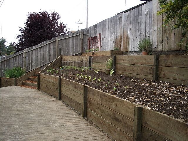 Retaining wall with 2x12 pressure treated wood 2 by Humboldt Landscape, via Flickr