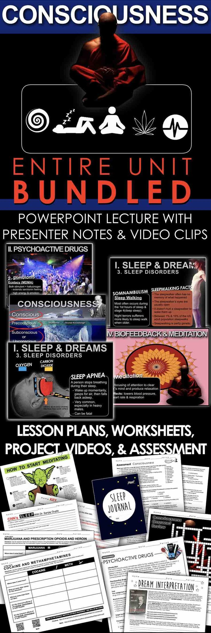Altered States of Consciousness Unit Bundled includes Consciousness PowerPoints with Video Clips and presenter notes, worksheets/activities, warmups, projects, review crossword, videos and video guide, assessment and daily lesson plans.