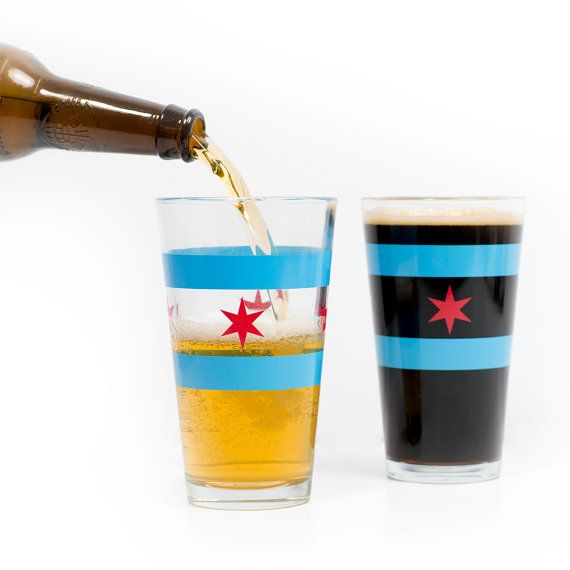 Hey, I found this really awesome Etsy listing at https://www.etsy.com/listing/172651611/chicago-flag-pint-glass