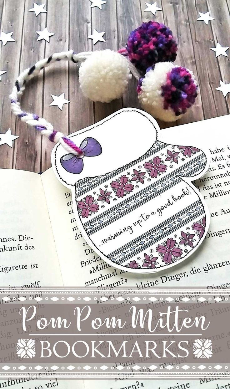 Make some cute Pom Pom Mitten Bookmarks with Hattifant. Get your printable, watch the video tutorial and make your own bookmark with pom poms!