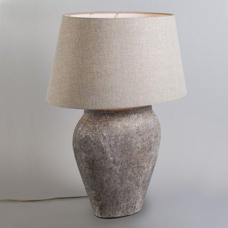 Lámpara de mesa BLAVA ovalada vintage con pantalla 50cm lino beige ...