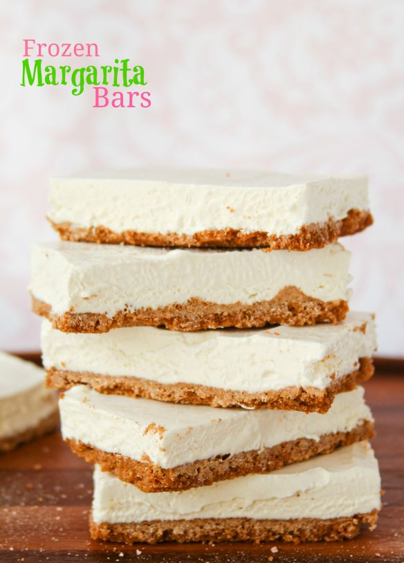 Frozen Margarita Pie Bars -- these frozen lime pieces of heaven are perfect for Cinco de Mayo!!