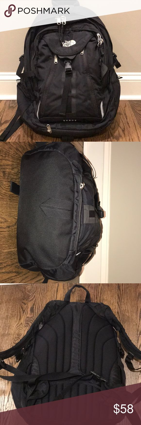 NorthFace Surge Backpack Good condition- bottom looks new, the NorthFace on the front is a little discolored, only a few snags on the back. Pen marks in only one pocket. Lots of great pockets- makes for a great school bag that doesn't show dirt!! Black is not faded! North Face Bags Backpacks