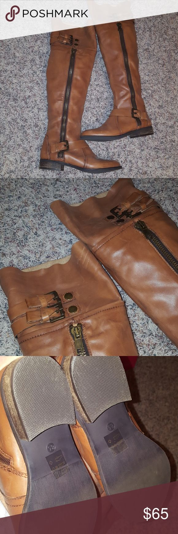Steve Madden over knee boots EUC Buttery soft leather.  Cognac color.  8 1/2 True to size  Inside zip Cuff can be rolled down  Great with dresses, skirts or leggings.  EUC  Price Firm.  Bought at Steve Madden store Charleston SC King St. Steve Madden Shoes Over the Knee Boots