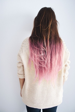 Pink dip dye on brown hair