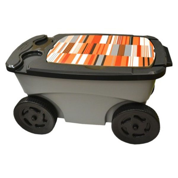 Suncast Portable Rolling Garden Tool Scooter W/Seat Cup Holder Basket U0026  Straps