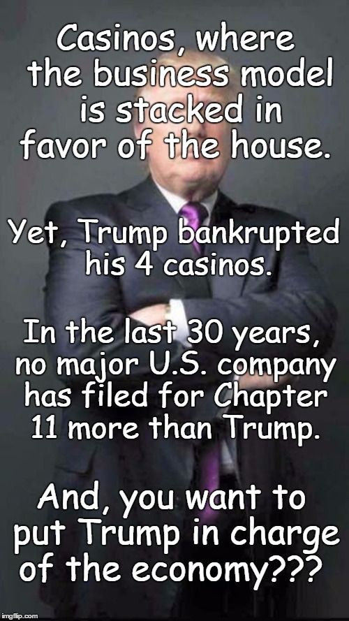 Casinos, where the business model is stacked in favor of the house. Yet, Trump bankrupted his 4 casinos. In the last 30 years, no other major U.S. company has filed for Chapter 11 bankruptcy more than Trump. And, people want to put Trump in charge of the economy???