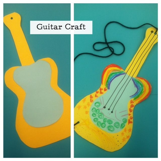 Storytime Craft: Easy Guitar Craft - just poster board/thin cardboard, decoration, and yarn!