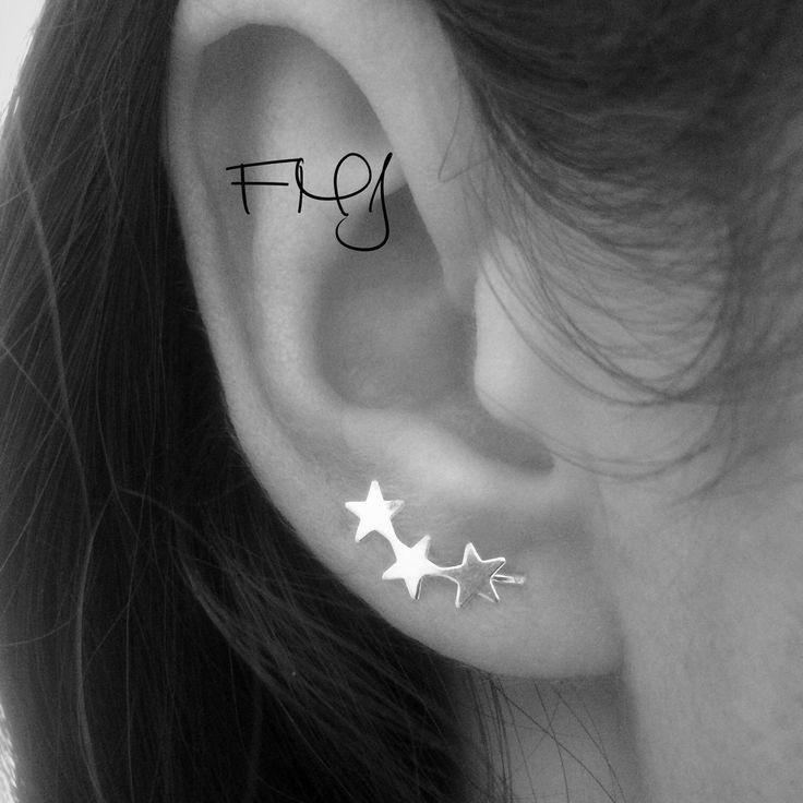 Ear Pin Earrings, Stars Cuff, Bar Ear Sweep, Wire Ear Wrap, Cuff Earring, Minimalistic, Silver Ear Pin, Ear Pin, Curved \Star Sweep, Line by FULLMOONJEWELLERY on Etsy https://www.etsy.com/listing/253985574/ear-pin-earrings-stars-cuff-bar-ear