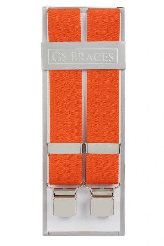 Plain Orange Elastic Trouser Braces With Large Clips