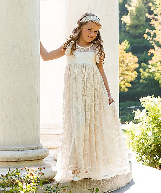54930601295 Just Couture Buttercream Lace-Overlay Evaline Gown - Toddler ...