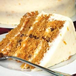 """Simple Carrot Cake- For the full recipe use 300 g sugar instead of 400! this was easy and very yummy! I halved the recipe and made one cake in an 8"""" pan. I reduced the sugar by 50g (so used 150g for half recipe) and it was sweet enough. Used Paula Deen's cream cheese frosting recipe instead."""