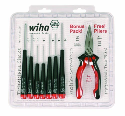"Wiha 26190 Slotted and Phillips Screwdriver Set Bonus Pack with Professional 6.3"" Long Nose Pliers, 8 Piece Wiha"