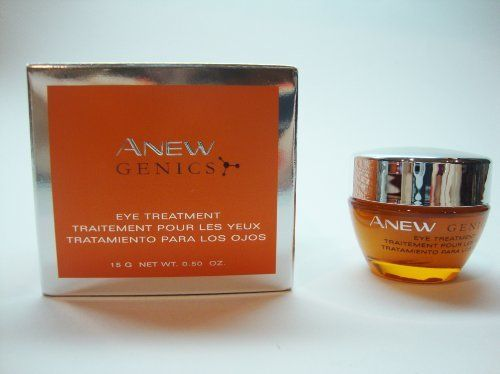 Avon Anew Genics Eye Treatment .50 ounce by Avon. $16.93. Now eyes can look up to 10 years younger. Diminishes the appearance of fine lines & fine crow's-feet. Re-energizes the eye area & restores the look of youthful brilliance. remarkable smoothness, definition & elasticity. Avon Anew Genics Eye Treatment 0.5 Oz. : Diminishes the appearance of fine lines & fine crow's-feet. Re-energizes the eye area & restores the look of youthful brilliance. remarkable smoot...