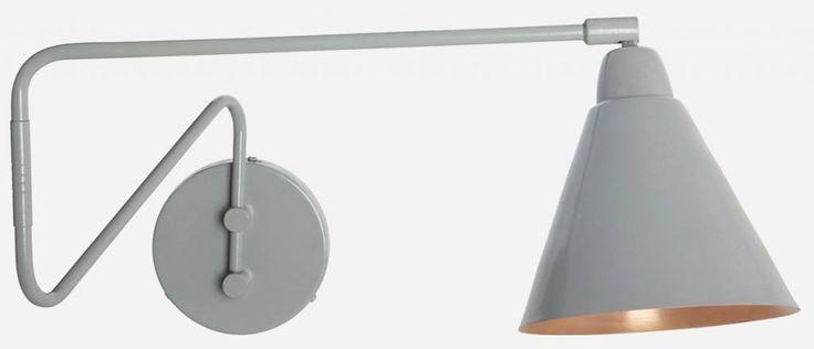 Housedoctor+Housedoctor+Wandlamp+grijs/koper+metaal+Ø15x13x70cm,+Lamp+Game