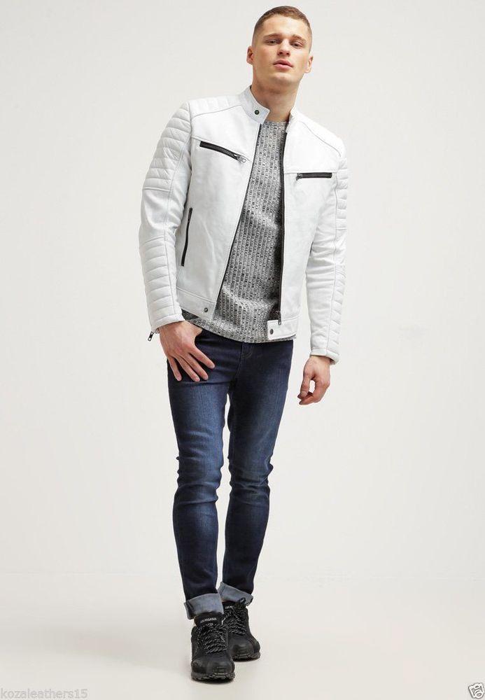 Men s Genuine Lambskin Leather Jacket White Slim fit Biker Motorcycle jacket 508