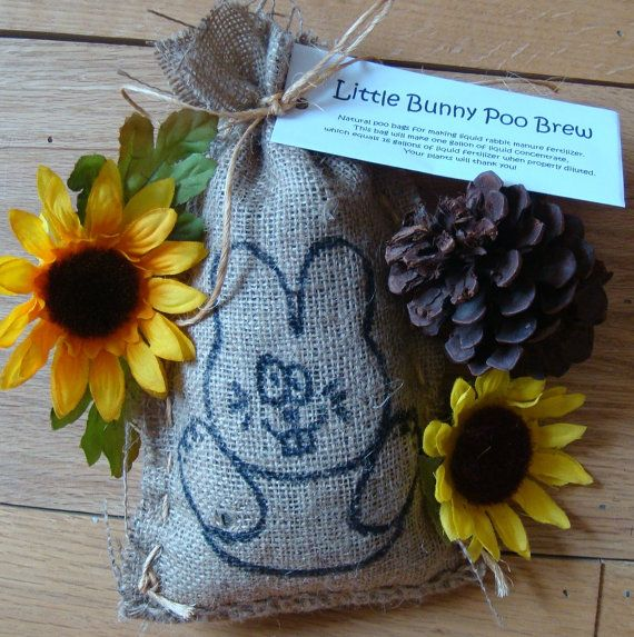 Little Bunny POO BREW burlap bag of dried by RockwellDesigns, $5.00