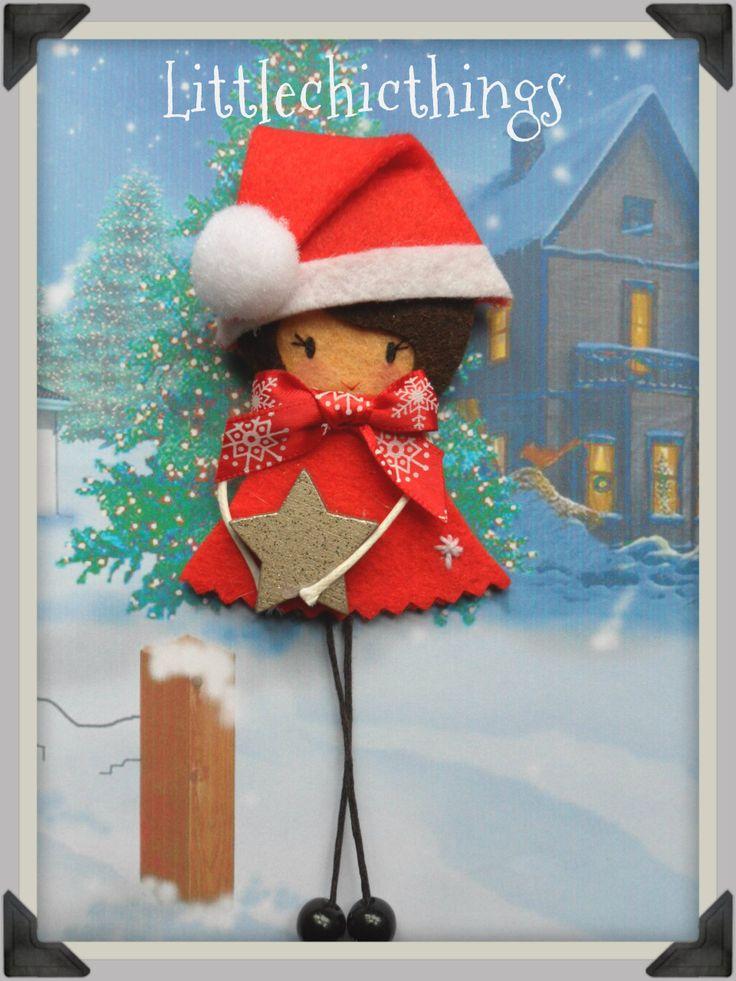 Christmas felt brooch Littlechicthngs