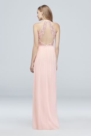 03ce8595 Open-Back Sequin and Mesh Bridesmaid Dress Style F19608S, Platinum ...