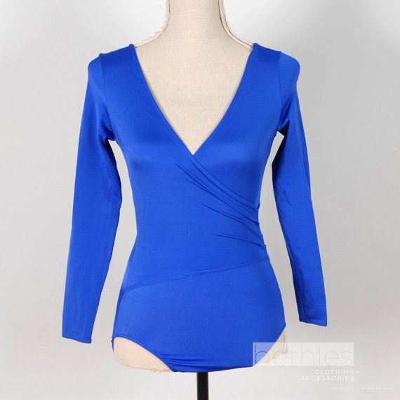 Vibrant Blue Leotard Wrap Front Long Sleeves by Bethlesvintage, $25.00