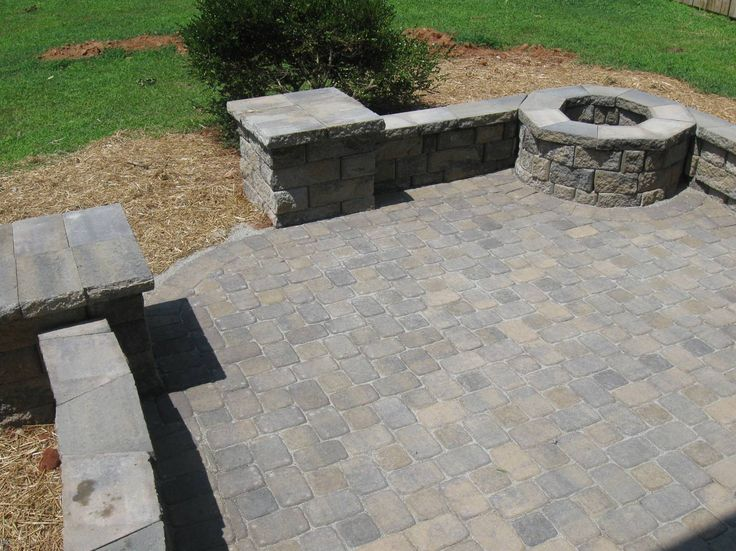 Paver Patio With Retaining Wall And Fire Pit