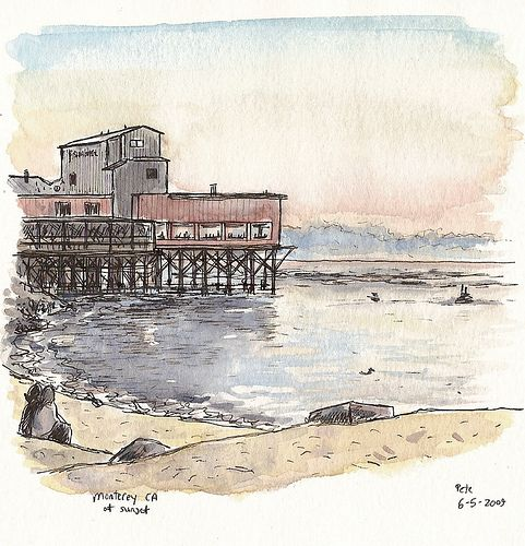 Beach Pier Drawing | Monterey, sunset. Micron pen and watercolour, in a watercolour ...