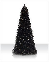 7.5' Prelit Jet Black Artificial Christmas Tree - Clear Lights