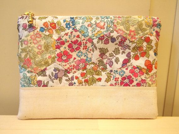 Liberty hexagon patchwork padded zipper pouch floral by sewsewnsew