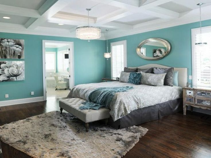 Interior Amazing Master Bedroom Design With Plain Teal Wall Paint