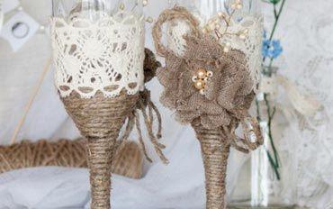 Свадебный декор: Бокалы в деревенском стиле