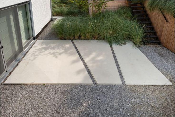 dynamische bestrating betonplaten - grind - gras- hout - trap