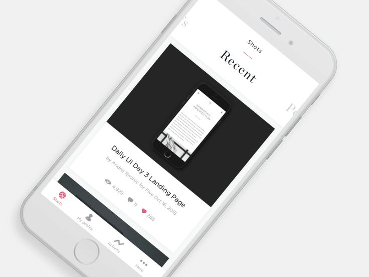 A concept for a dribbble app. I added a shot form a talented young designer who is doing the daily ui also.  Show some support  for @Marin Begović