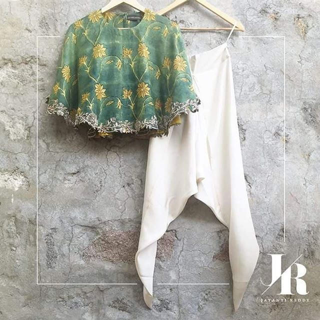 jayantireddylabel: Pretty summer green hued floral print cape top with dhoti pants.  #JayantiReddy #JayantiReddyLabel #SpringSummer2016 #Hyderabad #Designer  To shop this look mail at jayantireddyofficial@gmail.com