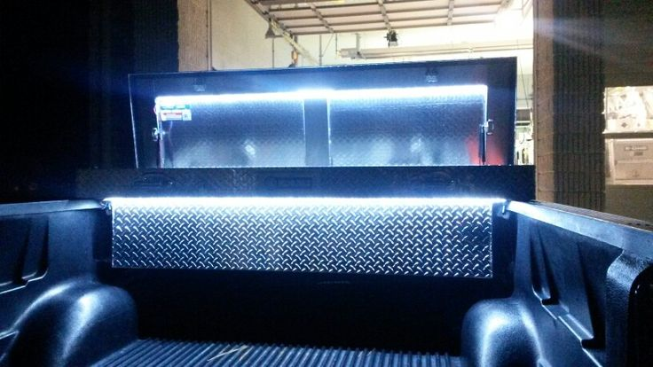 Add LED strip lights on a pressure switch to your truck toolbox.